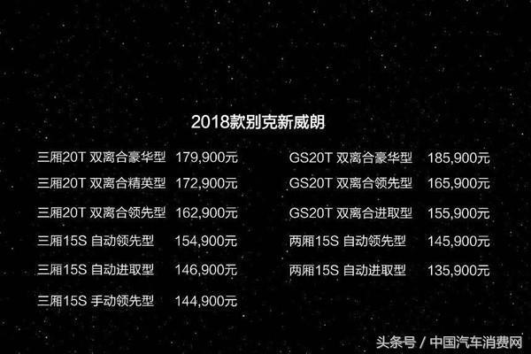 2018款別克威朗上市 售14.49-17.99萬元