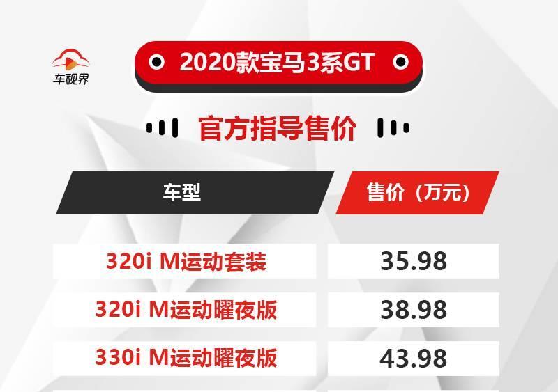 推出3款车型 2020款宝马3系GT售35.98万起