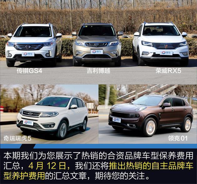这5台热销合资紧凑级SUV 保养最低485元起